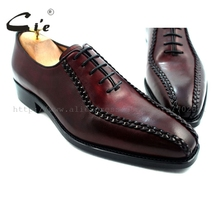 cie square toe goodyear welted weave handmade leather man shoe 100 genuine calf leather men s