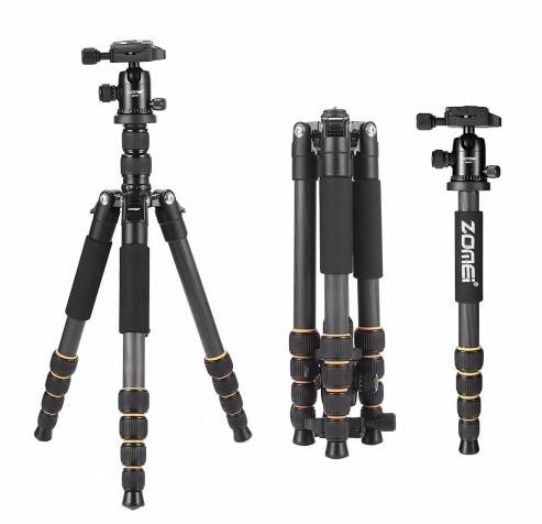Lightweight Portable Q666 Q666C Professional Travel Camera Tripod aluminum Carbon Fiber tripod Head for digital SLR