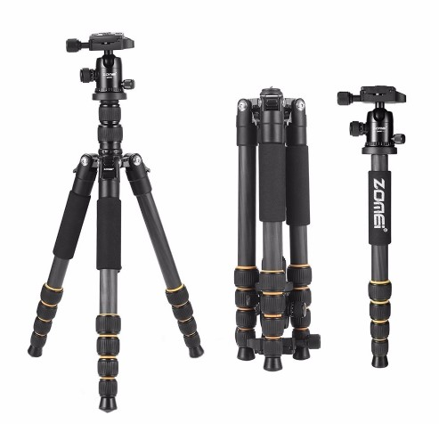 Color : Gold, Size : One Size 150cm Portable Photography Tripod 62 Inch Tripod Detachable Monopod with Ball Head for DSLR Camera