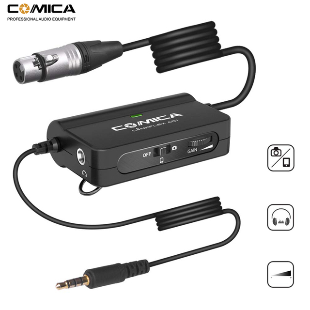 Comica AD1 Microphone Preamp XLR to 3.5mm Audio Adapter XLR to TRS/TRRS Adapter for DSLR Cameras Camcorders and Smartphones