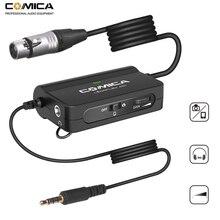 Comica AD1 przedwzmacniacz mikrofonowy XLR do 3.5mm Adapter Audio XLR do TRS/TRRS Adapter do lustrzanki cyfrowe kamery i smartfony