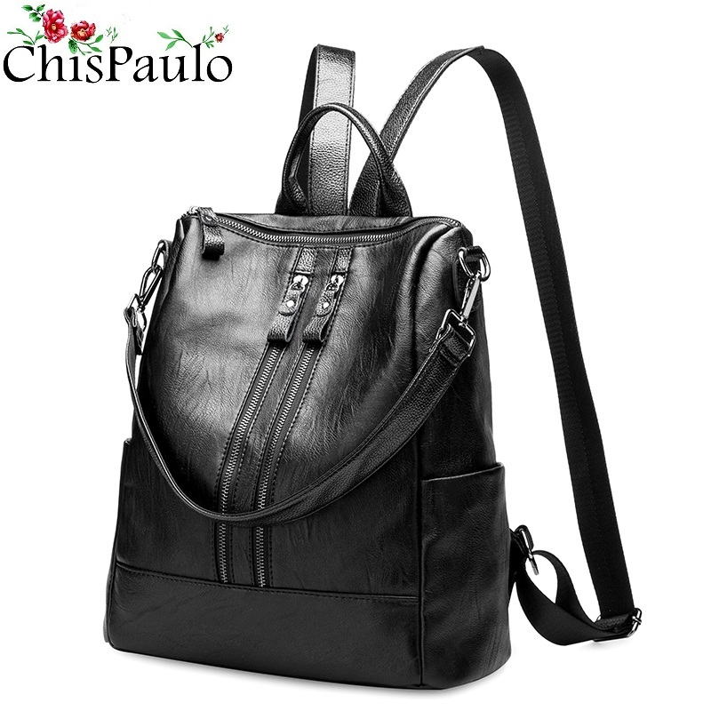 Genuine Leather Women Backpack Travel Woman Korean Style Ladies Strap Laptop Bag Daily Backpack Girl School