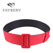 New Candy Color Smooth Buckle Wide Belts for Women Elastic Wide Belts for Party Dresses Female Waistband Wedding Accessories(China)