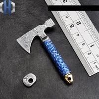 Axe Outdoor EDC Tool Damascus Steel Mini Axe Knife Titanium Burning Blue Toy