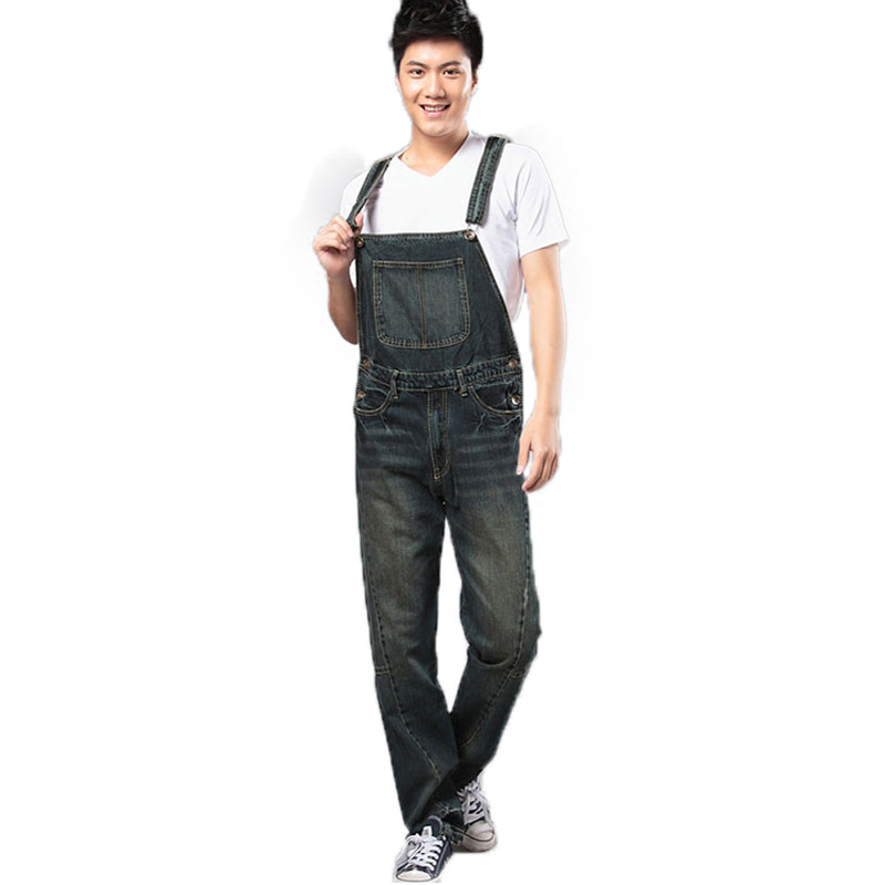 ABOORUN High Quality Mens Denim Jumpsuits Retro Bib Overalls with Multi Pockets for Male x494