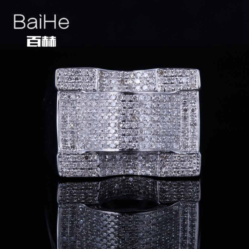 BAIHE Sterling Silver 925 1.2T Certified H/SI3 Round Cut 100% Genuine Natural Diamonds Engagement Men Trendy Fine Jewelry RingBAIHE Sterling Silver 925 1.2T Certified H/SI3 Round Cut 100% Genuine Natural Diamonds Engagement Men Trendy Fine Jewelry Ring