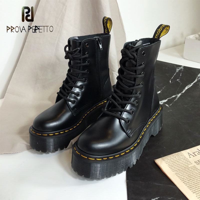 Prova Perfetto 2019 Fashion Warm Winter Ankle Boots Microfiber Lace Up Flatform Shoes Women New Militares Riding Female Boots