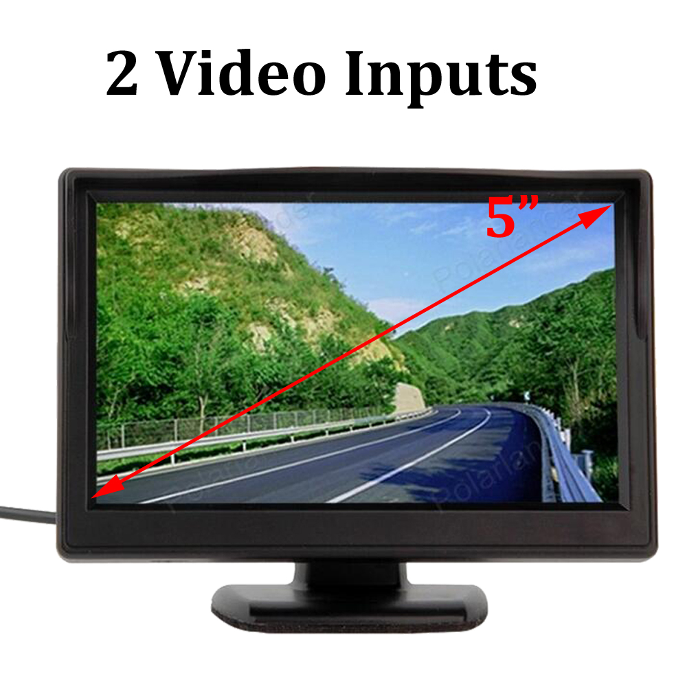 5 Inch Car Monitor TFT LCD Screen Parking Rear View Monitor Support VCD DVD rearview Camera 2 Video Inputs