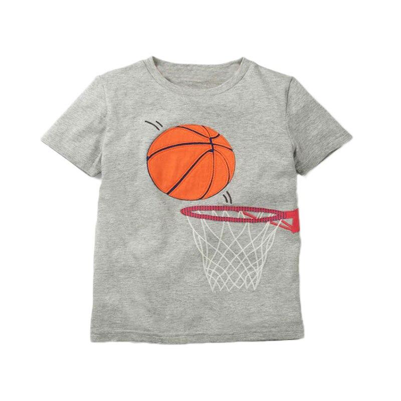 V-TREE; летние рубашки для мальчиков; хлопковые детские футболки; цветные топы для девочек; детская блузка с короткими рукавами; футболки для малышей; одежда для малышей - Цвет: gray basketball