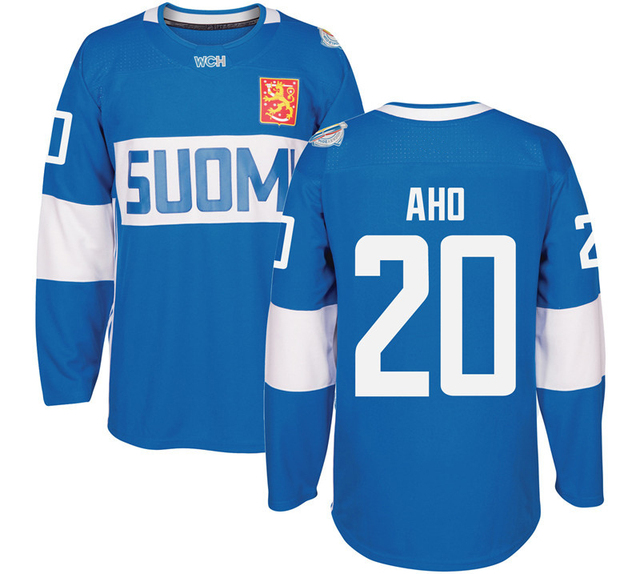 ... 2016 mens sebastian aho 20 finland world cup high quality blue white hockey  jerseys size 02aa7eb98