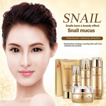 5pcs Snail Face Skin Care Set Day Cream/Toner/ Eye Cream/Cleanser/BB Cream Anti Aging Repair Whitening Nursing Facial Set