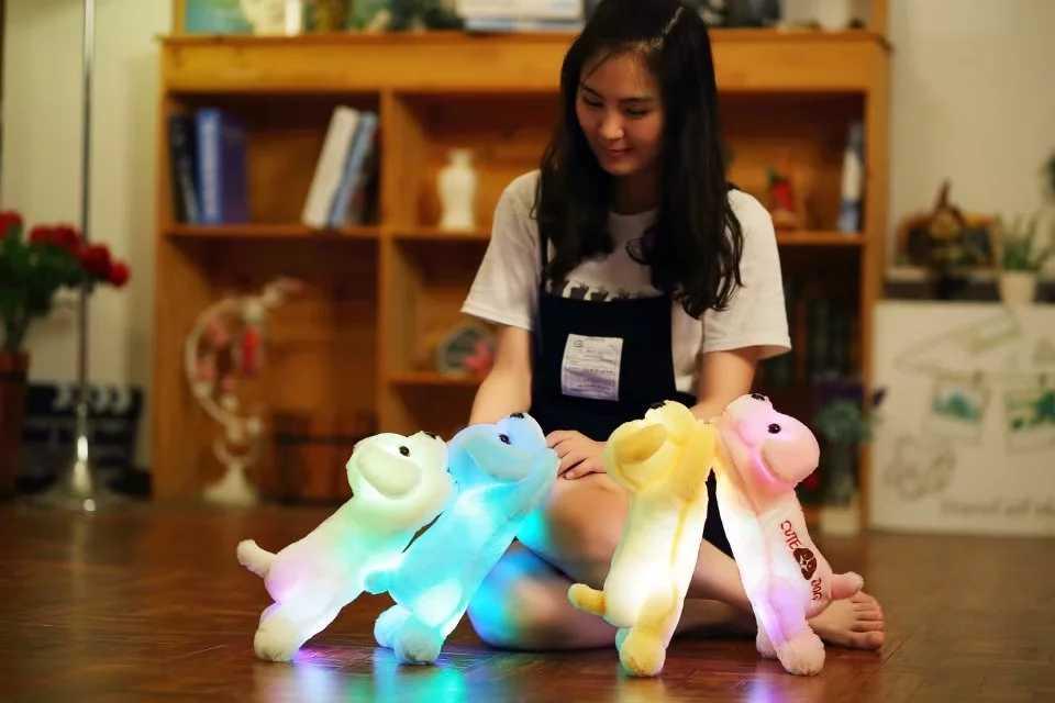 Горячая 35 см светящаяся собака плюшевая кукла Красочный Светодиодный свет светящиеся собаки детские игрушки подарок для девочек Kawaii набитая декорация для дома с животными