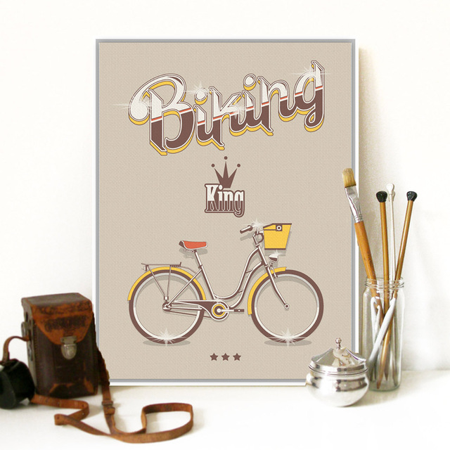 No Frame Vintage Retro Bike Bicycle Typography Quotes A4 Large Art Print Poster Hipster Wall Picture Canvas Painting Home Decor