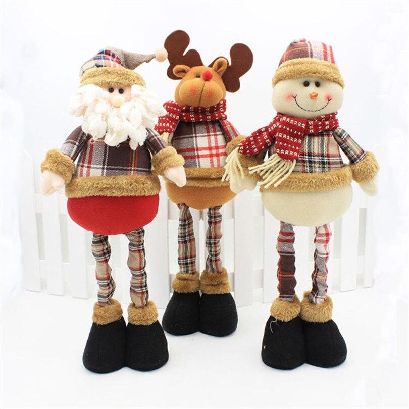 Decoração de natal 35-47cm retrátil de pé brinquedo papai noel boneco de neve natal bonecas natal ano novo presentes para crianças