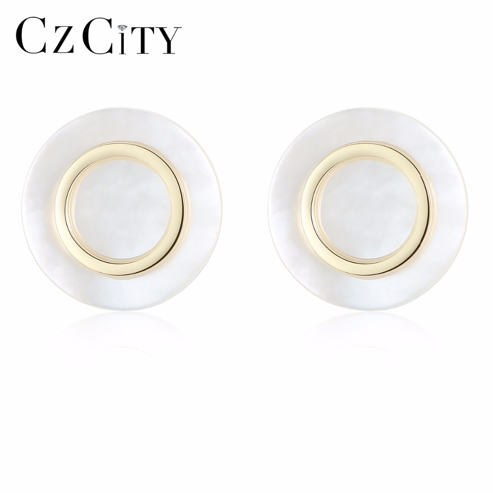 CZCITY Hight Quality Elegant And Charming White Seashell Earrings for Women Girls Piercing Stud Earrings Women Jewelry Gift(China)