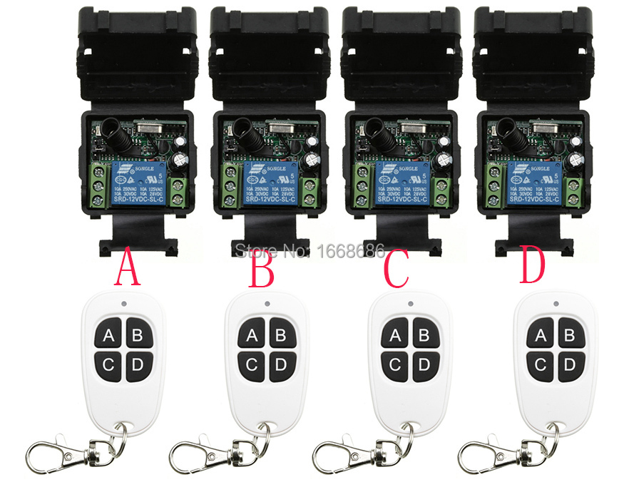 ФОТО Hot Sales DC 12V 1CH 10A 4*Receiver & 4*Transmitter RF Wireless Remote Switch teleswitch Momenrary Toggle Latched Adjustable