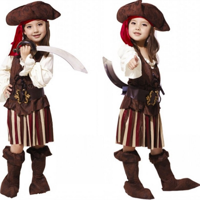 Free Shipping Halloween Kids Pirate Costumes Hat Carnival Masquerade Party Children Girls Fancy Dress Costume Cosplay Clothes