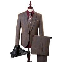 2016 new arrival High quality cotton brown suits men,wedding adress casual suit men,plus size M,L,XL,XXL,XXXL,4XL,5XL