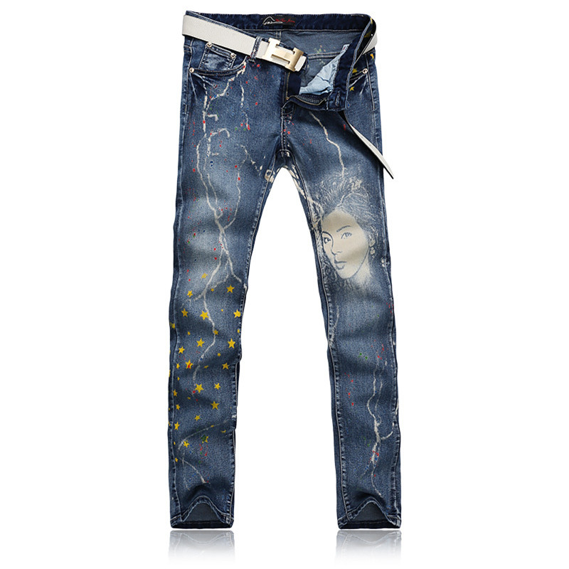 Fashion Trend Pockets Slim Fit  Printed Mens Jeans Retro Washed Casual Jeans Pants For Men
