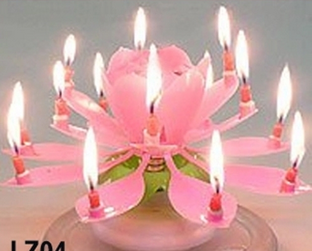 Party Cake Gift With Musical Spinning Lotus Flower Birthday Candle Shaped Sparkler Rotating