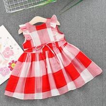 MUQGEW Kids hot Girls Plaid Striped Dresses Clothes Party Princess V-Neck Knee-Length Dresses vestido de verano vestido para me