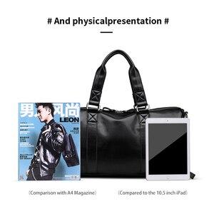 Image 5 - LIELANG 남자 블랙 핸드백 여행 가방 방수 가죽 대용량 여행 더플 다기능 토트 캐주얼 Crossbody 가방