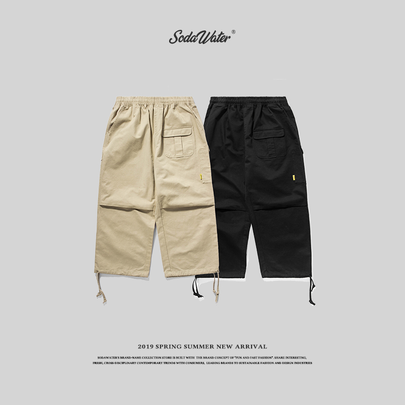 SODA WATER 2018 Casual Pants Men Brand Clothing High Quality Spring Summer Elastic Male Trousers Solid Ankle Length Pants 8862W
