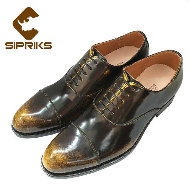 SIPRIKS mens sepatu goodyear welted boss antik mens oxford sepatu italia  kustom unik sepatu perunggu gereja 81bdf23670