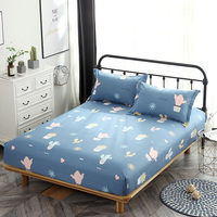 100% Cotton Fitted Sheet blue cactus Mattress Cover single double queen king Bedding Bed Sheets set With Elastic Band bedclothes