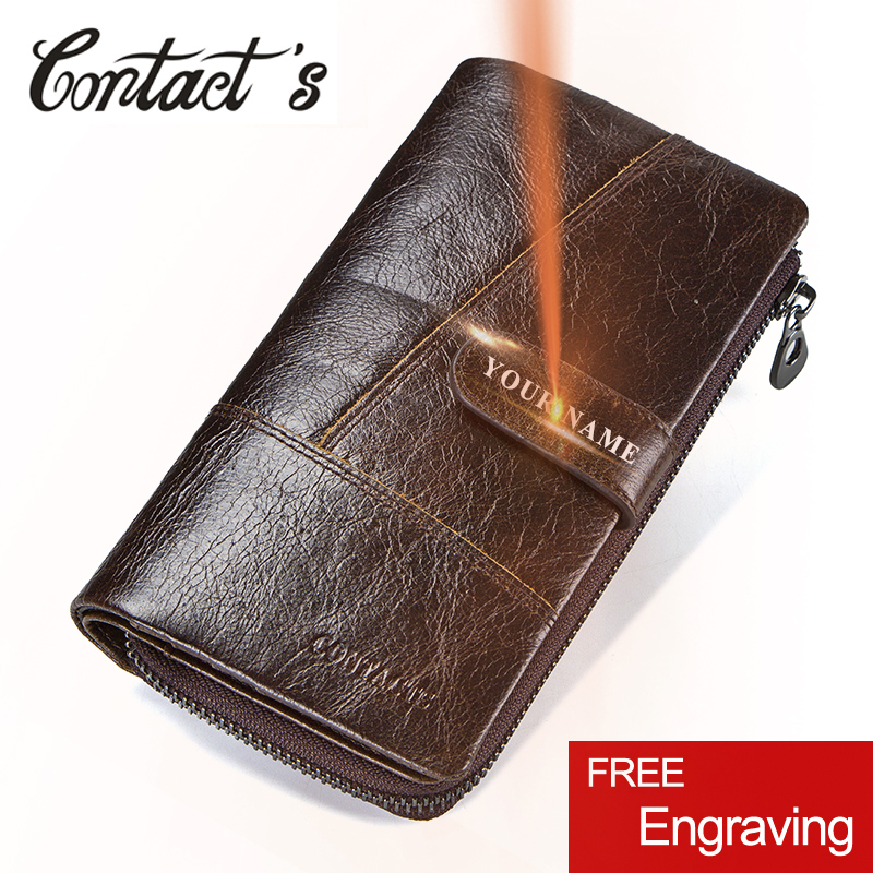 Contact's Brand Designer 100% Genuine Cow Leather Clutch Wallets Purse Card Holder Vintage Wallet Men with Coin Purse Pocket