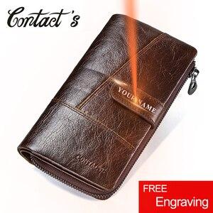 Image 1 - Contacts Brand Designer cartera de mano de cuero de vaca 100% auténtico para hombre, monedero, tarjetero, Vintage, con bolsillo para monedas