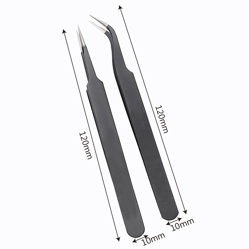 ESD-14 ESD-15 Anti-static Curved Straight Tip Forceps Precision Soldering Tweezers Set Electronic ESD Tweezers Tool Hot Tweezers