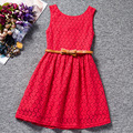 Niñas vestidos de verano 2017 chicas Coreanas vestido de encaje calado cinturón verano niños del vestido del bebé ropa de la muchacha 4 color