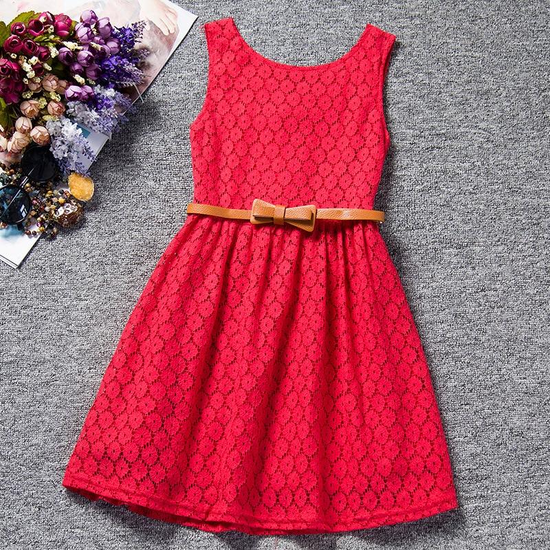 Vestidos para niñas Verano 2018 Vestido de niñas Cinturón de encaje calado Vestido de niños Niña coreana 3 colores
