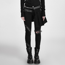 Punk Black Removable Lacing Design Cotton Skinny Lady Skirt Pants Gothic Sexy Hollow Out Long Trousers