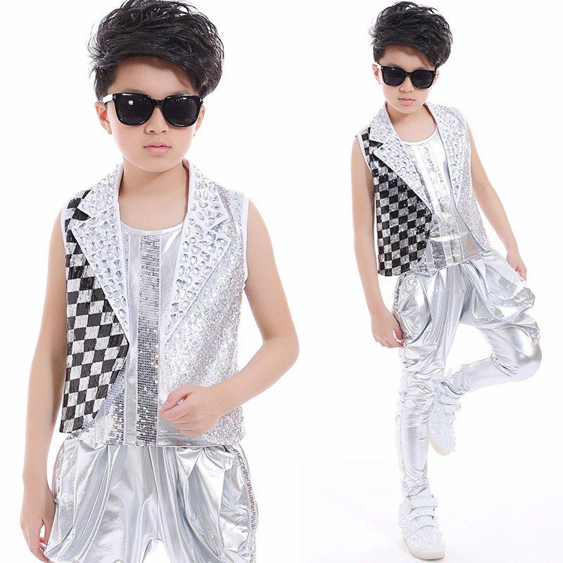 Hip Hop Dance Costume Boys Jazz Silver Sequin Outfit Vest Jacket Pants Kids Dancing Performance Child Modern Clothes DNV10049