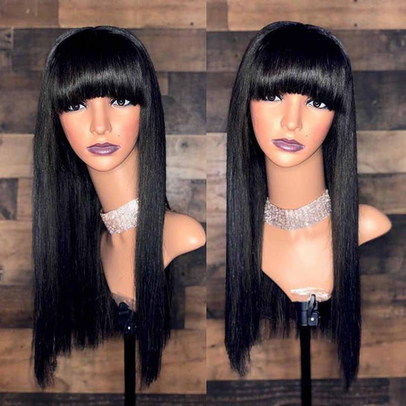 Невидимый 360 синтетический фронтальный парик человеческих волос длинные прямые с челкой бахрома тупым вырезом малазийские Remy бесклеевая застежка парик Полный конец