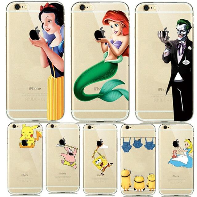 Belle Princesse Blanche-Neige Cendrillon Sirène Silicone Cas pour capinhas iphone 7 7 plus 6 6 S 5 5SE Clear Case Couverture De Clown Joker