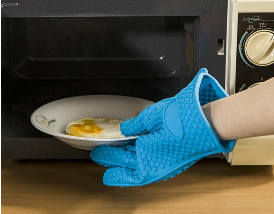 Silicone rubber hot insulation gloves with cotton liner, oven kitchen baking anti-hot gloves.hermal radiation protective genuine anti rubber gloves 12kv high voltage insulation rubber strong labor supplies