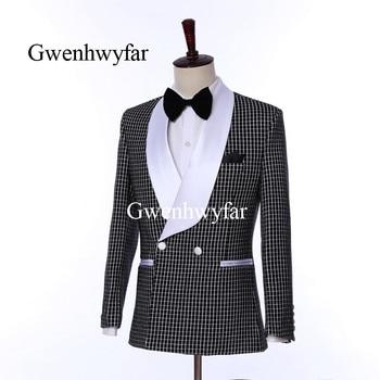 Gwenhwyfar 2019 Spring Shawl White Lapel Tuxedos Men's Fashion Black and White Plaid Groom Wedding Suits Cool Men Costume Homme
