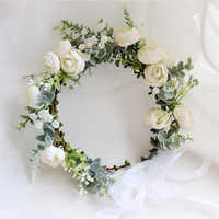 Camellia Blume Kranz Crown Festival Stirnband Frauen Haar Zubehör Kopfschmuck Mädchen Floral Garland Hochzeit Floral Headwear
