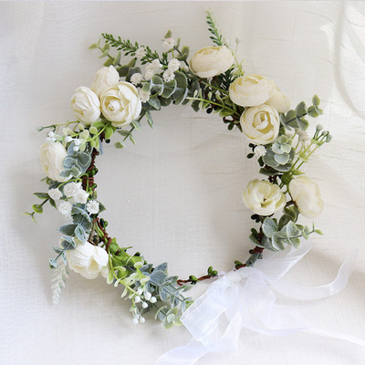 Camellia Flower Wreath Crown Festival Headband Women Hair Accessories Headdress Girl Floral Garland Wedding Floral Headwear