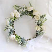 Camellia Flower Wreath Crown Festival Headband Women Hair Accessories Headdress Girl Floral Garland Wedding Floral Headwear