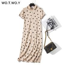 b305702ff9628 WOTWOY été Polo chemise robe femmes Dot Print grande taille lâche coton  Maxi robes poche à manches courtes noir abricot longue r.