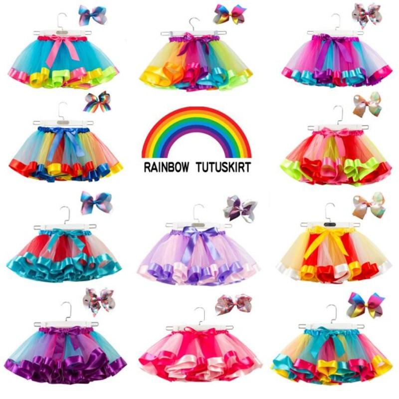 a1c58efa2 2019 falda tutú de malla europea y americana para niñas, tutú de arco iris  para niños, faldas de media longitud de princesa, pajarita gratis 2-11Y