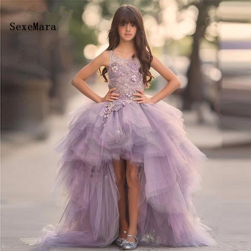 New Lavender 2018 Flower girl dress Tulle beaded high low children beauty pageant dresses pretty kids evening gowns pretty girl in the lavender field oil painting
