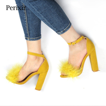 Perixir Summer Sexy High Heels Women Sandals with Fur Party
