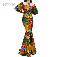 African Dresses Women Long Party Dress Traditional African Print Puff Sleeve Butterfly Collar Bazin Riche Lady Dress WY4614