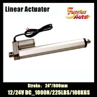 By express : 12v/24v DC linear actuator 24inch/600mm stroke, 1000N/100kgs load recliner chair electric linear actuator