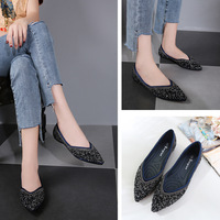 new korean style all-match shallow mouth single shoes woman flat pointed bling crystal ol shoes woman work shoes footwear